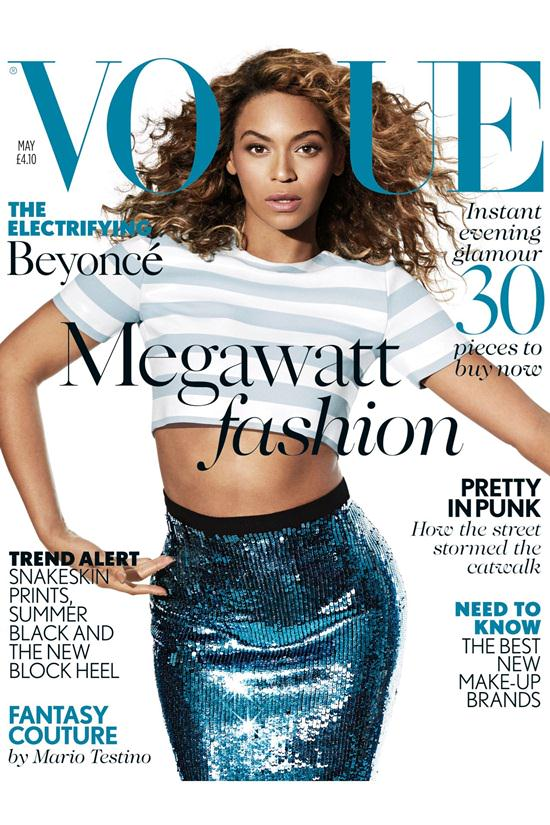 In a Jonathan Saunders crop top and sequined skirt on her debut British Vogue cover –May 2013 issue