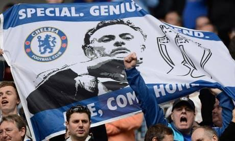 Chelsea fans at their FA Cup semi-final at Wembley display a banner appealing to Mourinho to return